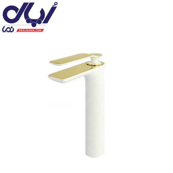 شیر روشویی پایه بلند ویولت سفید طلا راسان
